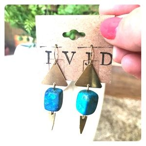 Artist IVJD Turquoise and Gold Geometric Earrings